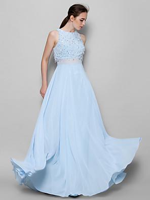 Lanting Bride® עד הריצפה שיפון שמלה לשושבינה  גזרת A עם תכשיטים עם חרוזים / נצנצים