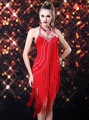 Dança Latina Vestidos Mulheres Actuação Raiom / Elastano Borla(s) 1 Peça Sem Mangas Vestidos Dress length: 110cm