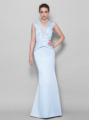 Lanting Bride® עד הריצפה תחרה / סאטן שמלה לשושבינה  בתולת ים \ חצוצרה צווארון וי עם תחרה