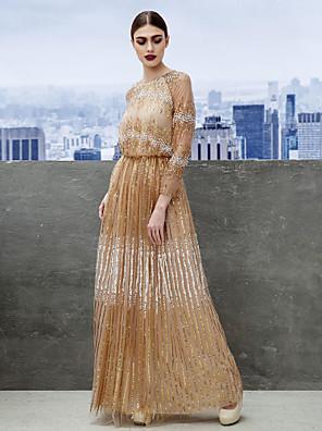 TS couture® 공식적인 저녁 / 검은 넥타이 축제는 스팽글과 온라인 보석 바닥 길이 얇은 명주 그물 드레스