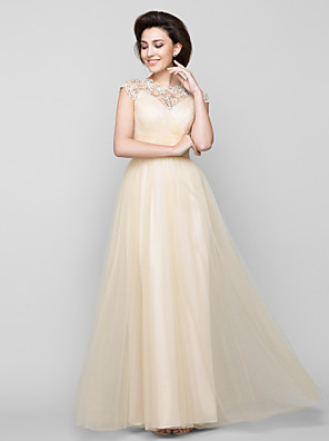 Lanting Bride® Linha A Vestido Para Mãe dos Noivos Até o Tornozelo Sem Mangas Tule - Miçangas / Cruzado