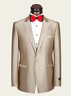 Obleky Slim Otevřené Jednořadé s jedním knoflíkem Vlna / Viskóza Pruhy 2 ks Champagne Rovné vnitřní Žádný (rovné nohavice) ŽlutáŽádný