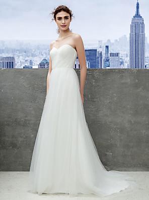 Lanting Bride® Pouzdrové Drobná / Nadměrné velikosti Svatební šaty Dlouhá vlečka Srdce Tyl s