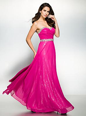 TS couture® 공식적인 저녁 구슬 / 골 크로스와 줄 연인 발목 길이 쉬폰 드레스