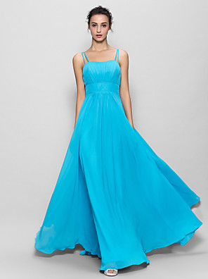 Floor-length Chiffon Bridesmaid Dress A-line Spaghetti Straps with Draping