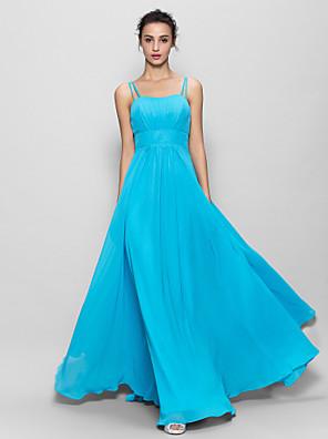Lanting Bride® עד הריצפה שיפון שמלה לשושבינה - גזרת A רצועות ספגטי עם תד נשפך