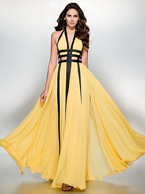 공식적인 저녁 couture® TS는 함께 라인 V 넥 바닥 길이 쉬폰 드레스
