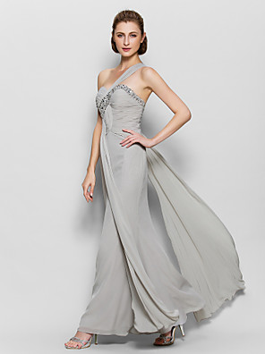 A-line Mother of the Bride Dress Ankle-length Sleeveless Chiffon with Beading / Criss Cross