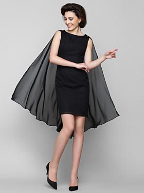 Tubinho Vestido Para Mãe dos Noivos Até os Joelhos Sem Mangas Chiffon - Detalhes em Cristal