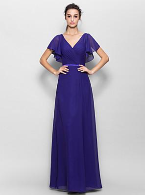 Lanting Bride® Na zem Šifón Šaty pro družičky - Pouzdrové Do V s Křížení