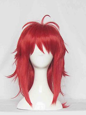 Perucas de Cosplay Fantasias Fantasias Vermelho Médio Anime Perucas de Cosplay 60 CM Fibra Resistente ao Calor Feminino