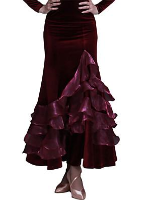 ריקודים סלוניים חצאיות בגדי ריקוד נשים ביצועים / אימון קטיפה דפוס / הדפסה חלק 1 טבעי חצאית M:84-86 L:90-92 XL:90-92