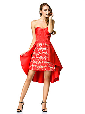 칵테일 파티 couture® TS는 라인을 레이스와 연인 비대칭 레이스 / 새틴 드레스