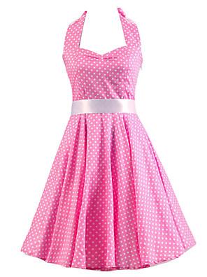 Women's Pink White Mini Polka Dot Dress , Vintage Halter 50s Rockabilly Swing Dress