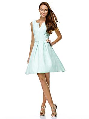칵테일 파티 / 회사 파티 / 가족 모임 드레스 A-라인 V-넥 무릎 길이 폴리에스테르 와