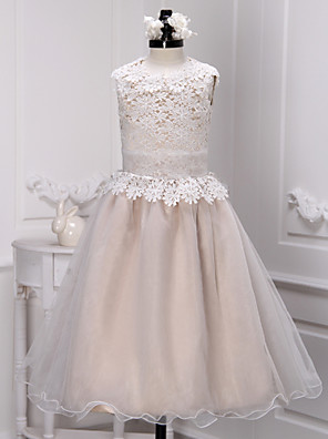 A-line Ankle-length Flower Girl Dress - Lace / Organza Sleeveless Jewel with Lace