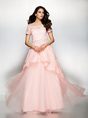 공식적인 저녁 couture® TS는 레이스와 온라인 보석 바닥 길이 레이스 / 얇은 명주 그물 드레스