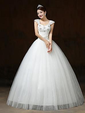 볼 드레스 웨딩 드레스 바닥 길이 스트랩 레이스 / 새틴 / 튤 와 비즈 / 크리스탈 / 스팽글