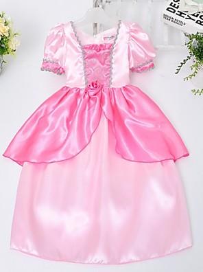 Menina de Vestido Cor Única Cetim Todas as Estações Rosa