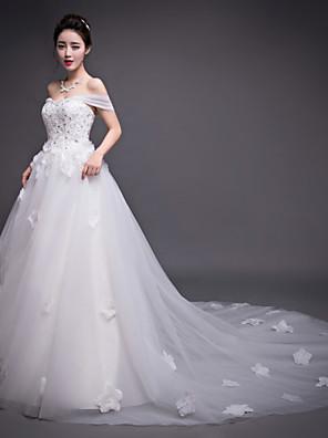 A-라인 웨딩 드레스 채플 트레인 스트랩 오간자 와 아플리케 / 비즈 / 꽃장식