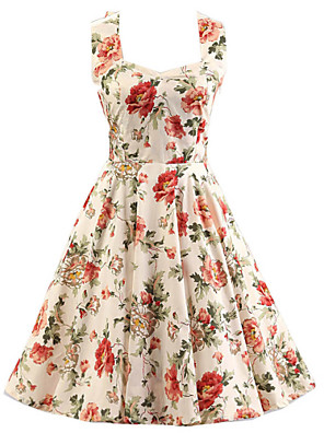 Women's Cream Floral Dress , Vintage Halter 50s Rockabilly Swing Dress