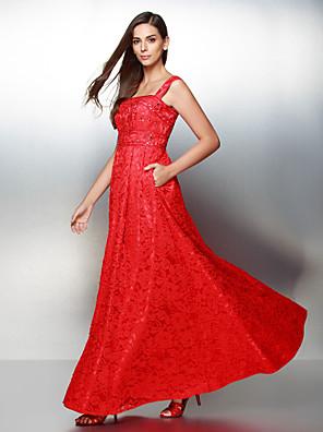 TS couture® 공식적인 저녁은 줄 레이스 발목 길이 레이스 스트랩 드레스