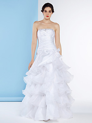 A-line Wedding Dress Floor-length Strapless Organza / Taffeta with Beading / Criss-Cross / Tiered