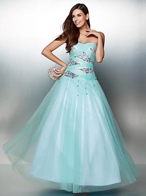 TS couture® 공식적인 저녁 골 크로스 / 장식 조각이있는 줄 연인 발목 길이 얇은 명주 그물 드레스