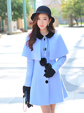 Women's Solid Blue Coat ,  Long Sleeve