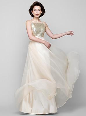 Lanting Bride® עד הריצפה שיפון / נצנצים שמלה לשושבינה - גזרת A מרובע עם נצנצים