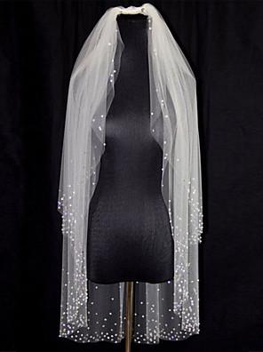 Voiles de Mariée Deux couches Voiles bout du doigt Bord orné de perles Tulle Ivoire Blanc / Ivoire