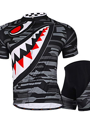 NUCKILY® חולצת ג'רסי ומכנס קצר לרכיבה לנשים / לגברים / יוניסקס שרוול קצר אופנייםעמיד למים / נושם / עמיד אולטרה סגול / רוכסן עמיד למים /
