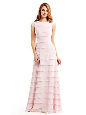 Tubinho Vestido Para Mãe dos Noivos Longo Sem Mangas Chiffon - Em Camadas