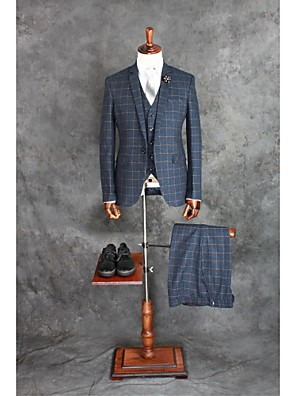 Suits Moderno Notch/ Paletó Comum 1 Butão Misto de Algodão Xadrez Gingham 3 Peças Azul Escuro Lapela Reta Duas Pregas Duas PregasBotões /