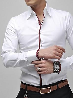 אנשיו של חולצה חלק כותנה / פוליאסטר שרוול ארוך יום יומי / מידות גדולות כחול / ורוד / לבן / אפור
