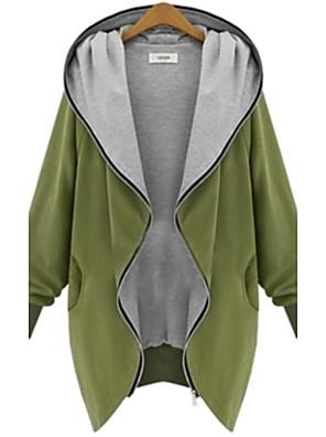 אחיד מידות גדולות / וינטאג' מעיל נשים,שחור / ירוק ללא שרוולים אביב / סתיו / חורף בינוני (מדיום) כותנה