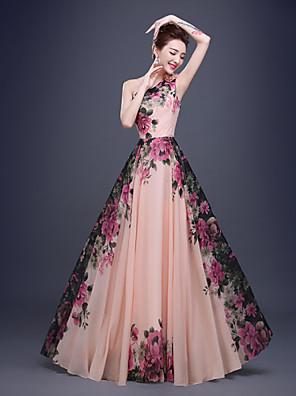 Formeller Abend Kleid A-Linie Ein/Schulter Boden-Länge Chiffon mit Blume(n) / Seitlich drapiert