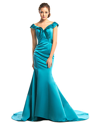 ts couture® vestido de noche formal de la trompeta / sirena v-cuello de barrido / cepillo tren satén con