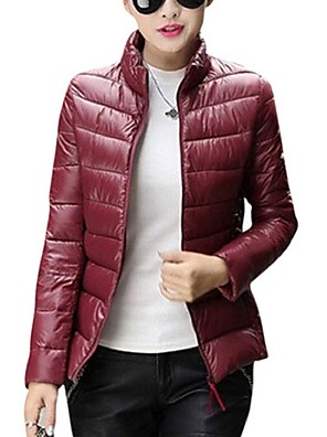 Women's Long Sleeve Down Coat , Casual Feather