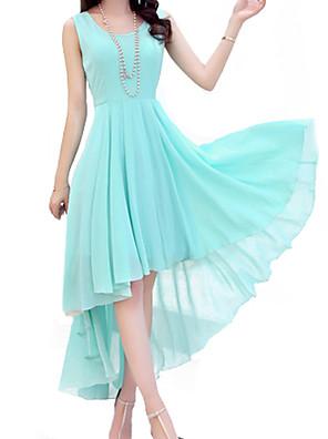 קיץ כחול / ורוד / שחור ללא שרוולים א-סימטרי צווארון עגול אחיד וינטאג' מסיבה\קוקטייל שמלה ישרה נשים מיקרו-אלסטי דק
