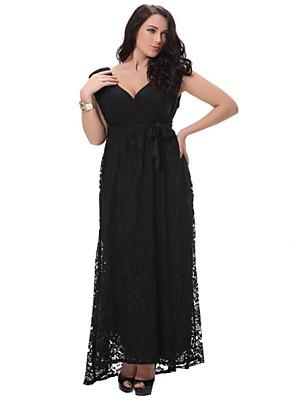 praia loose / balanço vestido doces curva das mulheres, mola de poliéster preto sólido profunda v midi sem mangas