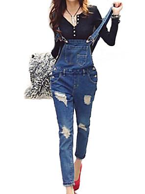 Dames Slank Jeans / overalls Broek,Effen Casual/Dagelijks Street chic Gescheurde Lage taille Knoop Katoen / Polyester Micro-elastischAll