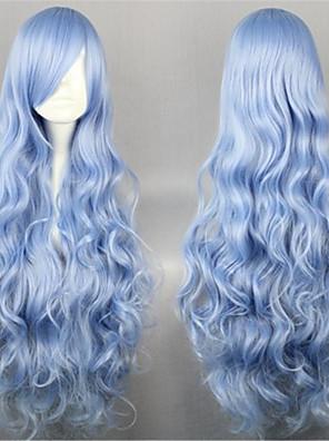Lolita Wigs Sweet Lolita Elegantní Dlouhé Modrá Lolita Paruky 90 CM Cosplay Paruky Jednobarevné Paruka Pro Dámské