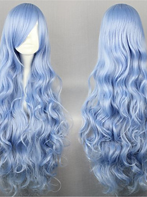 Perucas Lolita Doce Elegant Longas Azul Perucas Lolita 90 CM Perucas de Cosplay Cor Única Perucas Para Feminino