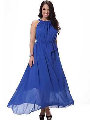 sød kurve kvinders strand plus size kjole, solid rem midi ærmeløs blå / hvid / sort / orange spandex sommer