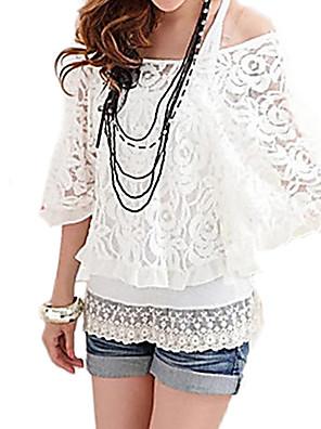 bordado de encaje blanco blusa negro de la mujer, uno de los hombros de la manga del palo de dos piezas