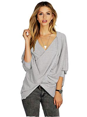 3/4 ærmelængde V-hals Medium Kvinders Grå Ensfarvet Efterår Sexet T-shirt,Bomuld
