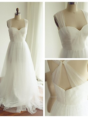 A-라인 웨딩 드레스 스윕 / 브러쉬 트레인 스트랩 튤 와 장식주름 / 스팽글
