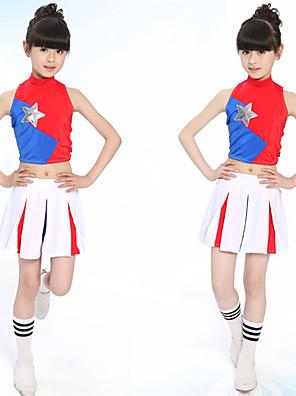 Kostýmy pro roztleskávačky Úbory Dětské Výkon Bavlna Plisované 2 kusy Dlouhé rukávy Sukně / horní a dolní část)S:28cm M:30cm L:32cm