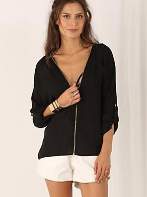 Women's Solid Black Shirt , V Neck Long Sleeve, Plus Size